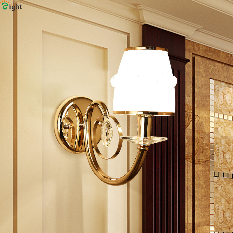 Modern Lustre Crystal Led Wall Lamp Gold Metal Bedroom Led Wall Lights Fixtures Living Room Led Wall Light Corridor Wall Sconce simple led wall lamp modern home lighting bedroom berth crystal wall light corridor crystal wall sconce contains led bulb