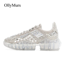 Pre-sale Diamonds White Shoes Women Real Leather Platform Sneakers  Rhinestone Spring zapatos de mujer d9f9360d075b