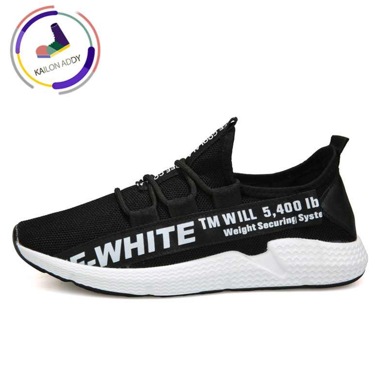 2019 Fashion Korean summer casual breathable men's casual shoes soft slip outsole comfortable breathable lettered sneakers