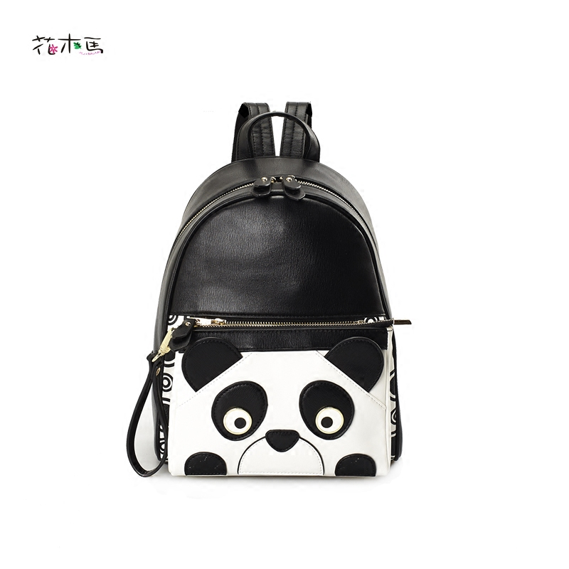 Mochila Mujer Women s PU Leather Backpacks Casual Fashion Cartoon Cute Panda Bags Personality Small Vintage