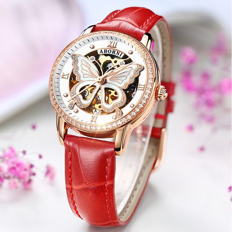 Creatieve Vlinder Mechanische Vrouwen Horloges Rose Gold Hollow Lady Klok Steentjes Diamand Vrouwelijke Automatische Self Wind Horloge-in Dameshorloges van Horloges op  Groep 1