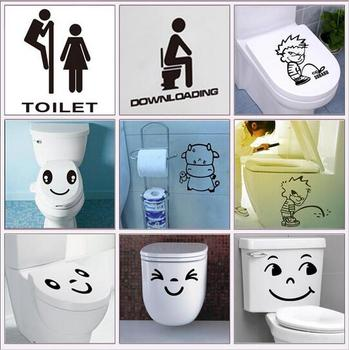 Funny waterproof bathroom toilet stickers-Free Shipping Bathroom Stickers