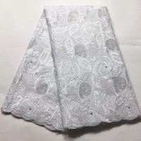 8 colors (5yards/pc) high quality pure white African cotton lace stones fixed Swiss voile lace with embroidery for dress CXS002