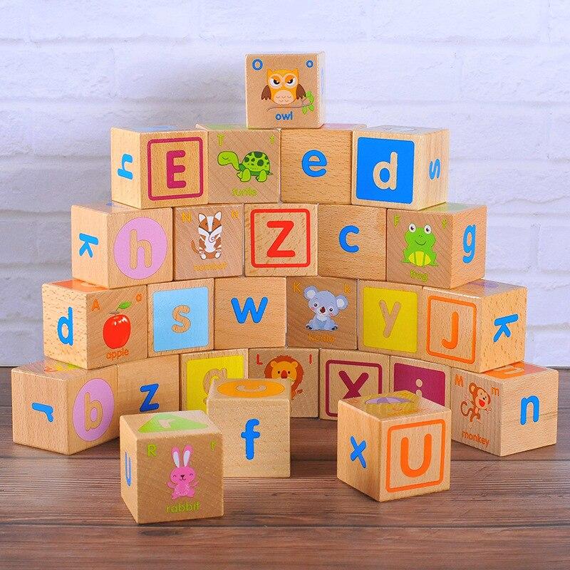 Enfants en bois Montessori matériaux lettres blocs jouets éducatifs pour enfants apprentissage des aides pédagogiques jouet 0-36 mois pile brique