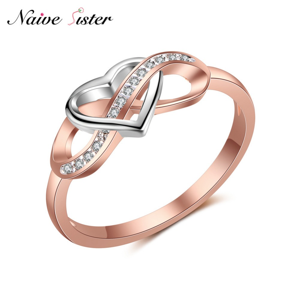 Cute Heart Engagement Ring Rose Gold Color Infinity Shape ...