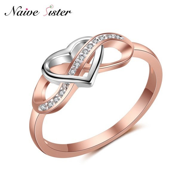 Cute Heart Engagement Ring Rose Gold Color Infinity Shape Wedding Rings For Women Friend Love Gifts