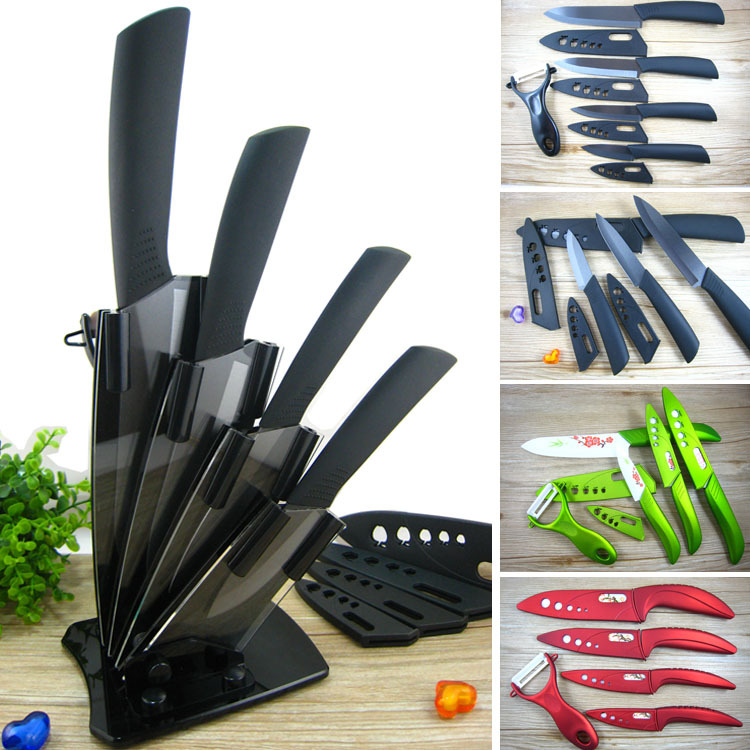 Red Kitchen Knife Set Industrial Kitchens High Quality Ceramic Chef S Knives 3 4 5 6 Inch Covers Black Green Multiple Type Or Acrylic Holder