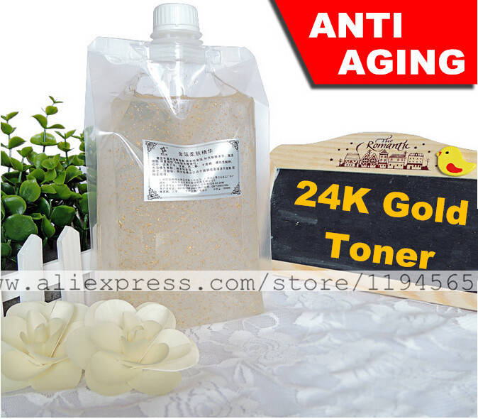 1KG Nano 24K Gold Foil Toner Skin Care Serum Anti Aging Wrinkles Whitening Mosturizing 1000ml Beauty Salon Equipment Wholesale 1 kg beauty salon products skin care white tea sleeping mask anti aging whitening and remove hydrating anti radiation 1000ml