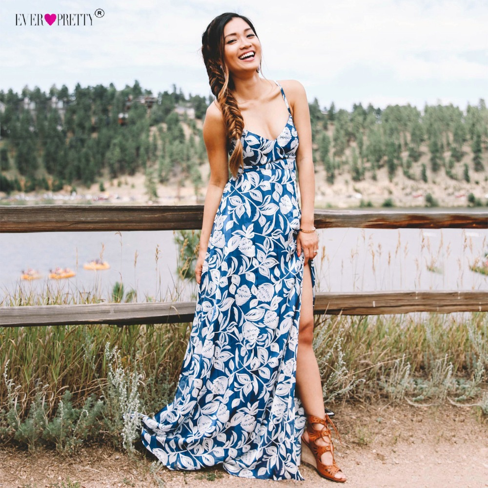 Длинное летнее стильное летнее пляжное платье больших размеров с принтом, платья на бретельках Ever Pretty AS08906 2018, вечернее платье высокого каче...