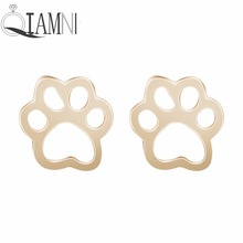 QIAMNI Pet Lovers Gift Cute Cat Dog Puppy Paw Print Animal Stud Earring Christmas Piercing Party Jewelry Girls Women Pendientes