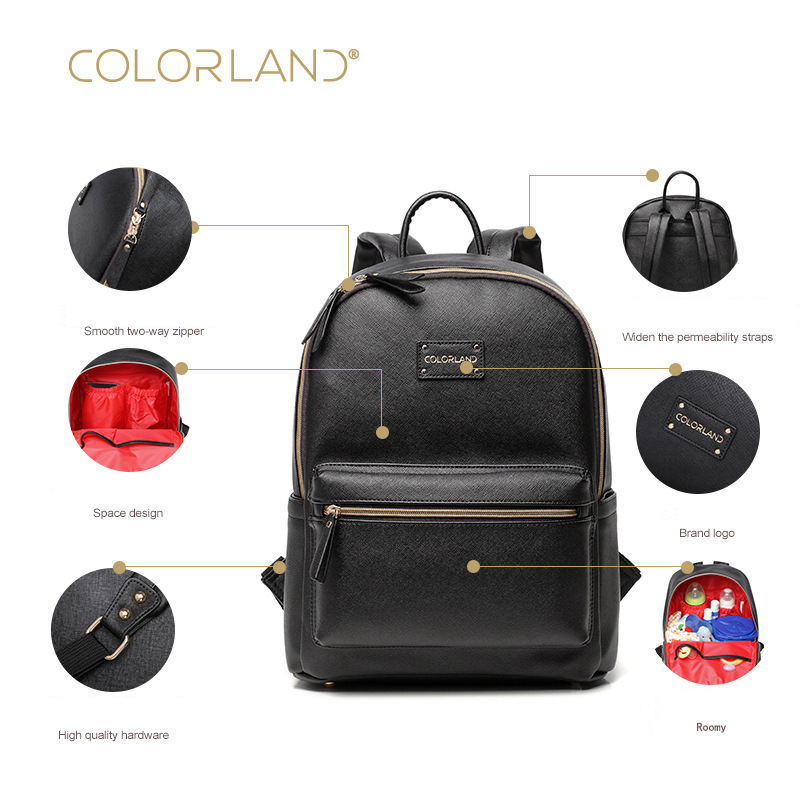 e26f1c7496 COLORLAND PU Baby Diaper Bag Backpack Mom Stroller Nappy Changing Mommy  Maternity Organizer Wet Bags Care Thermal Insulation - aliexpress.com -  imall.com