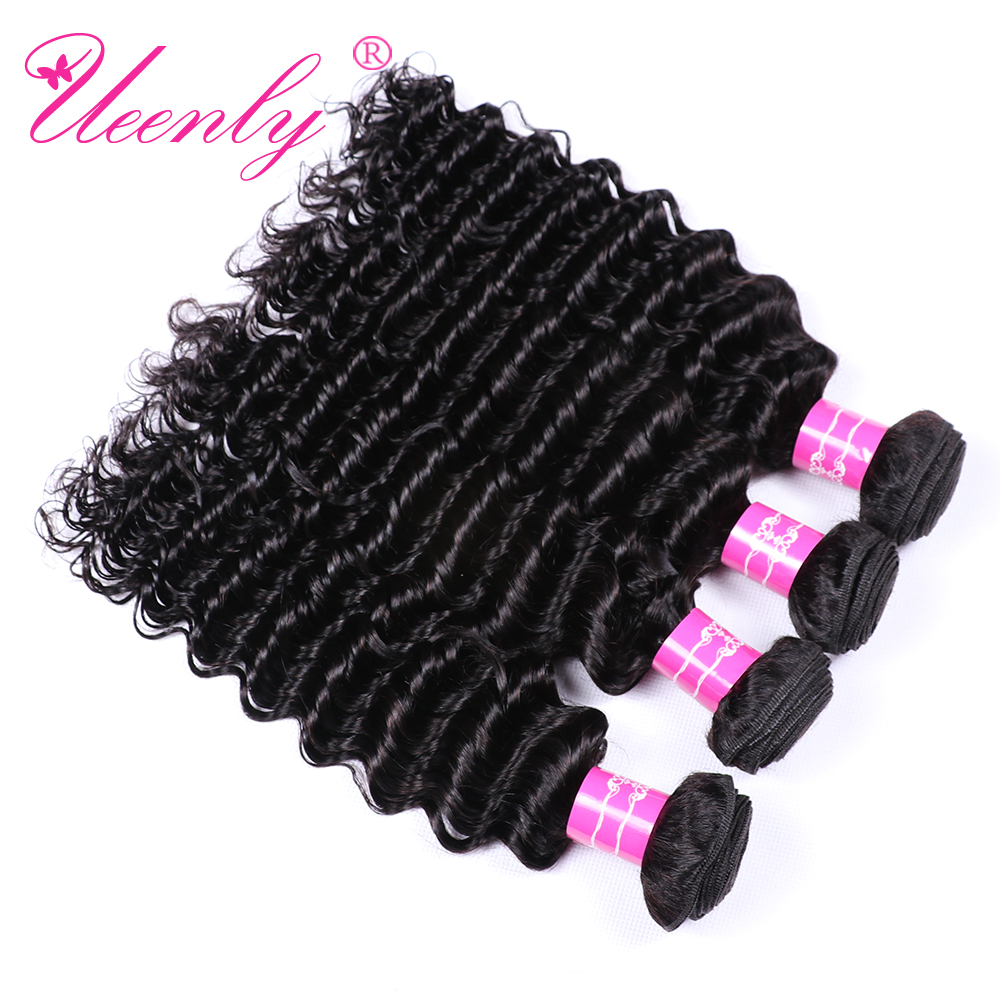 UEENLY Weave Bundles Brazilian Hair Non-Remy 100%Human-Hair-Extensions Double-Weft 8-28--Inch