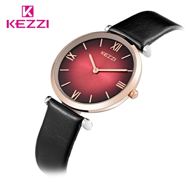 2016KEZZI Brand Waterproof New Design Arrive In July Watches Ladies Fashion Hit Colors Two Hands Leather strap watch