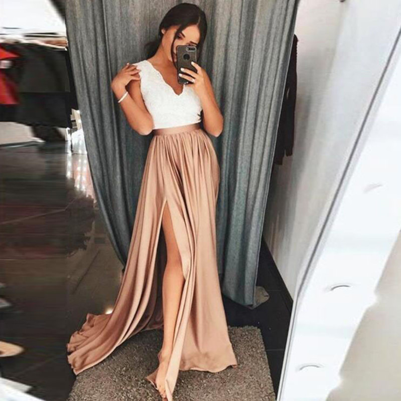 New Champagne Long Party Skirts High Waist Sexy Side Slit Elastic Satin Floor Length Formal Skirts For Women Maxi Skirts Custom