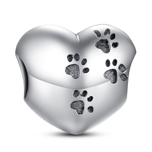 925 Sterling Silver My Sweet Pet Paw Print Charm Fit Bracelet Necklace Heart Bead with Cat claw Accessories Jewelry Making