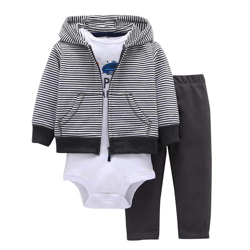 2018 Real 100% Cotton Baby Clothing Three-piece Normal Boy Girl Clothessize Bodysuit & Pants Set 6~24 Months Kids Clothes Sets