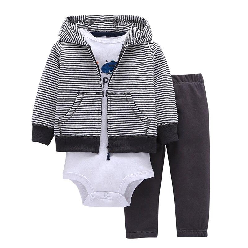 2019 Roupas de Bebê De Algodão Real de Três peças Normal Menino Menina Clothessize Bodysuit & Calças Set 6 ~ 24 Meses Roupa Dos Miúdos Define