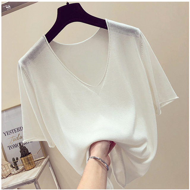 c7351b62afaf Summer thin basic oversize T Shirt for Women Top Tees Short Sleeve V-Neck  Casual knit T-Shirts Knitwear Basic big T-shirt solid