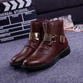 Genuine Leather High Top Men's Martin Boots Man Fashion Zip Ankle Boots Short Boots Autumn Winter Casual Flats Shoes Brown Black