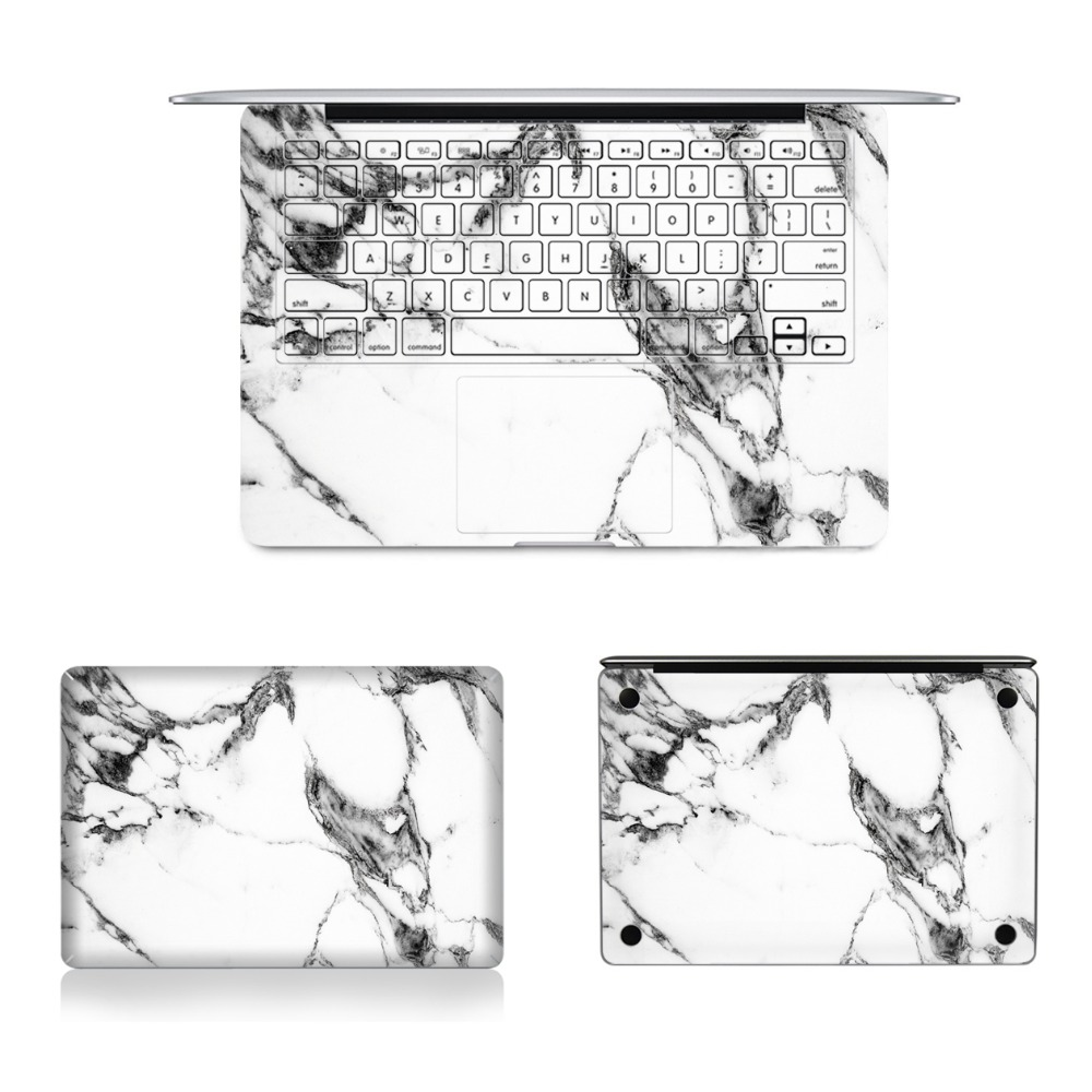 Laptop Full Vinyl Decal Top Bottom and Keyboard Side White Marble Texture Sticker Skins For Macbook Air Retina Pro 11121315 colorful laptop sticker decal skins for macbook 11 13 15 17 inch sticker for mac book rainbow logo free shipping new arrival