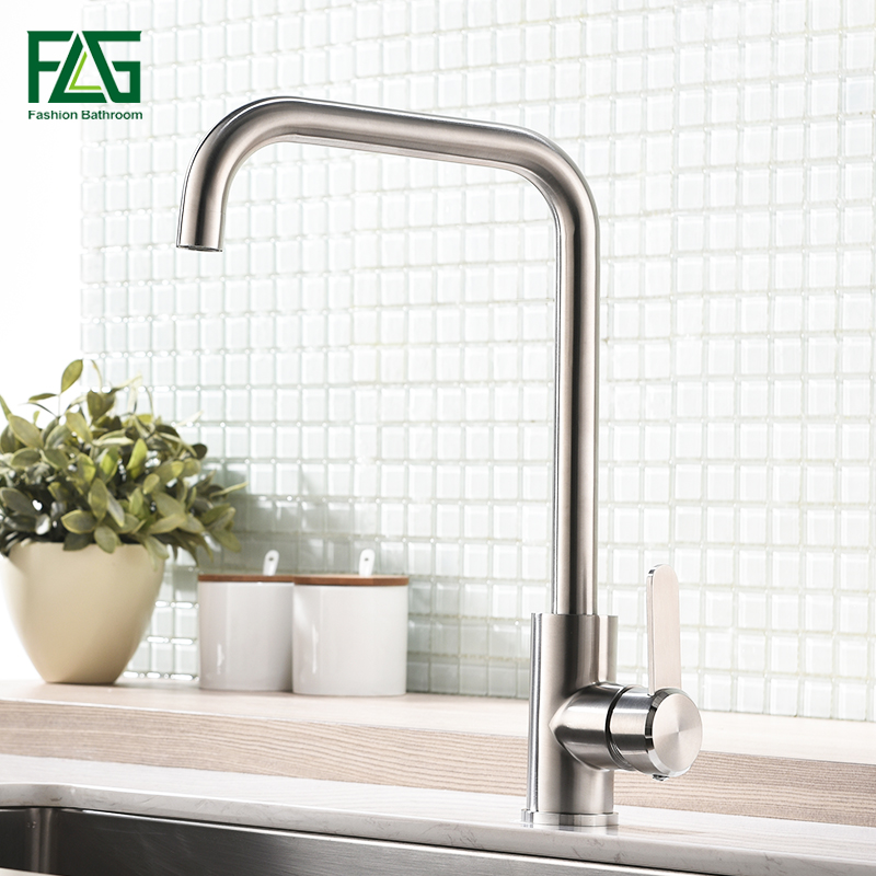 FLG 304 Stainless Steel Kitchen Sink Faucet High Quality Brushed Nickel Mixer Tap 360 Swivel Kitchen faucets AEG981-33N xoxohigh quality total 304 stainless steel no lead kitchen sink faucet sink tap 360 swivel mixer kitchen faucet 83026