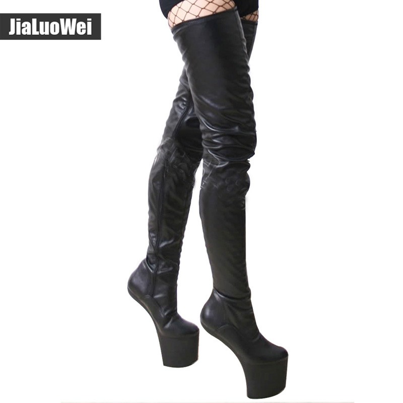 Jialuowei women black matt Leather Extreme 20CM High heels Platform sexy boots sex no-heel thigh high Over-the-Knee Shoes jialuowei women sexy fashion shoes lace up knee high thin high heel platform thigh high boots pointed stiletto zip leather boots