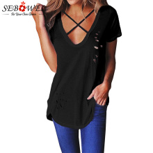 SEBOWEL Sexy Women Crisscross Neckline T-shirt Cotton Short Sleeve Tops Ladies Casual Summer V neck Blusas Top Femininas S-XXL цена 2017