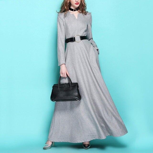 wollen maxi jurk