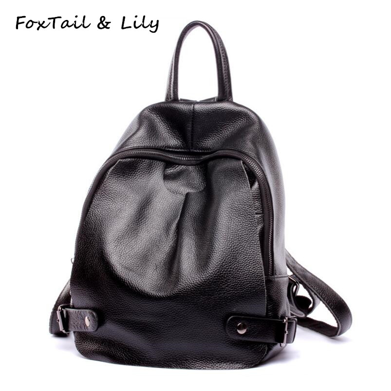 FoxTail & Lily Women Genuine Leather Shoulder Backpack Famous Designer Popular School Bags for Teenage Girls Black Backpacks automatic steam hair curler ceramic curling iron wand auto steam spray electric hair curler professional salon tools