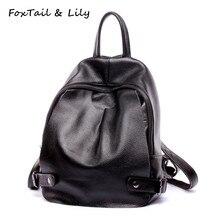 Лисохвост и Лили женщин натуральная кожа плеча рюкзак известный дизайнер популярные школьные сумки для девочек-подростков черные рюкзаки