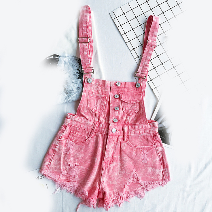 New style college wind cowboys back to wear shorts women summer holes loose Korean version of students show thin suspenders pants (12)