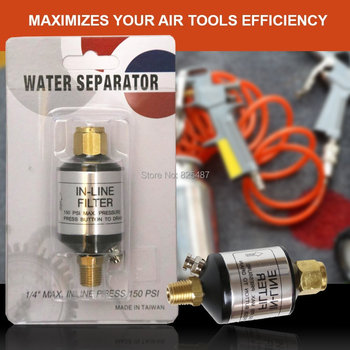 "10 Pcs LEMATEC 1/4"" Air Filter Oil Water Separator with Drain Valve Air Accessory For Air Tools Spray gun Paint Gun"
