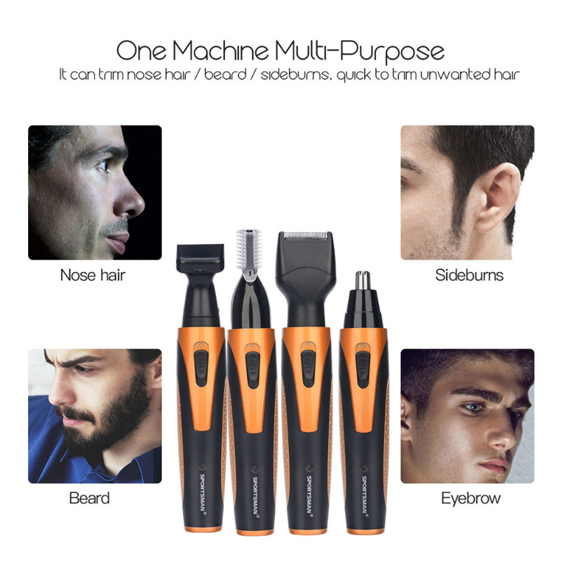 4 In 1 USB Rechargable Ear Nose Trimmer Electric Shaver Razor Beard Face Eyebrows Nose Ear Trimer Clipper Face Care Hair Removal kemei electric rechargable shaver razor for men nose ear hair cutter ear hair trimmer haircut machine face eyebrows hair removal