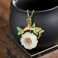 plated cloisonne natural hetian plum blossom female character joker pendant restoring ancient ways