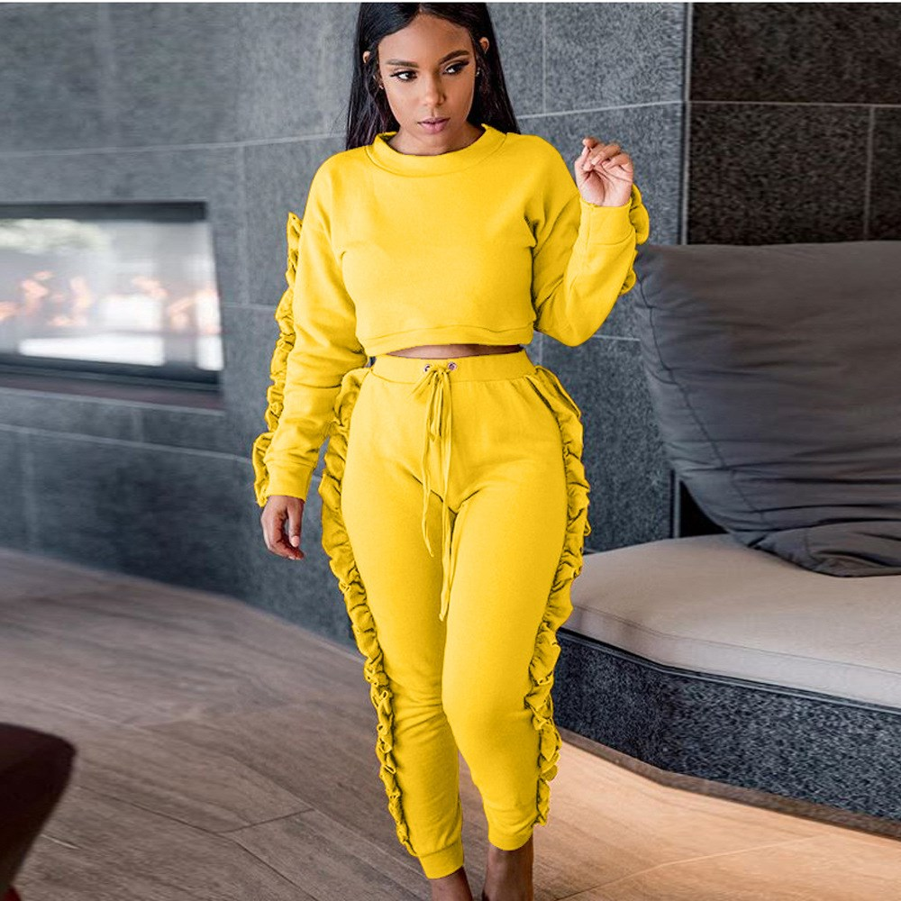 New Fashion Two Piece Sets Tracksuit Ruffles Long Sleeve Pollover Long Legging Pants Suits Sweatsuits for Women Casual Outfits 1