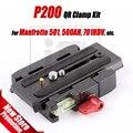 P200 kit adaptador placa qr braçadeira de liberação rápida da liga de alumínio para 501 500ah 701hdv manfrotto 503hdv q5 etc