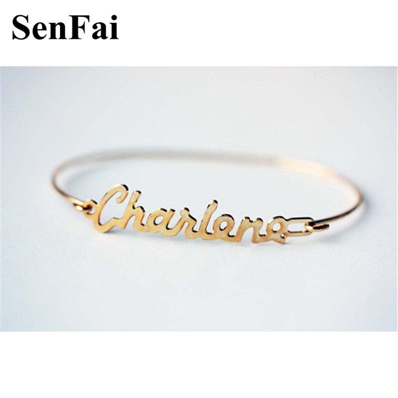 Senfai Custom Name Bracelets Bangles For Women Men Girls Love Letter Handwriting Monogram Initial Party Bar Bracelet Jewelry Git