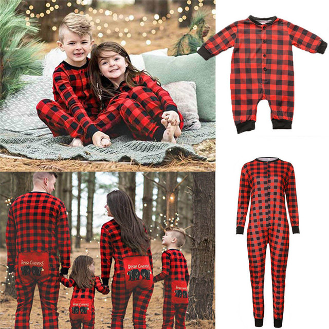 ef7e420894a9 Couple Family Dad Mom Baby Kid Matching Outfits Cotton Christmas Pajamas  Clothes High Quality Cotton Plaid Jumpsuits