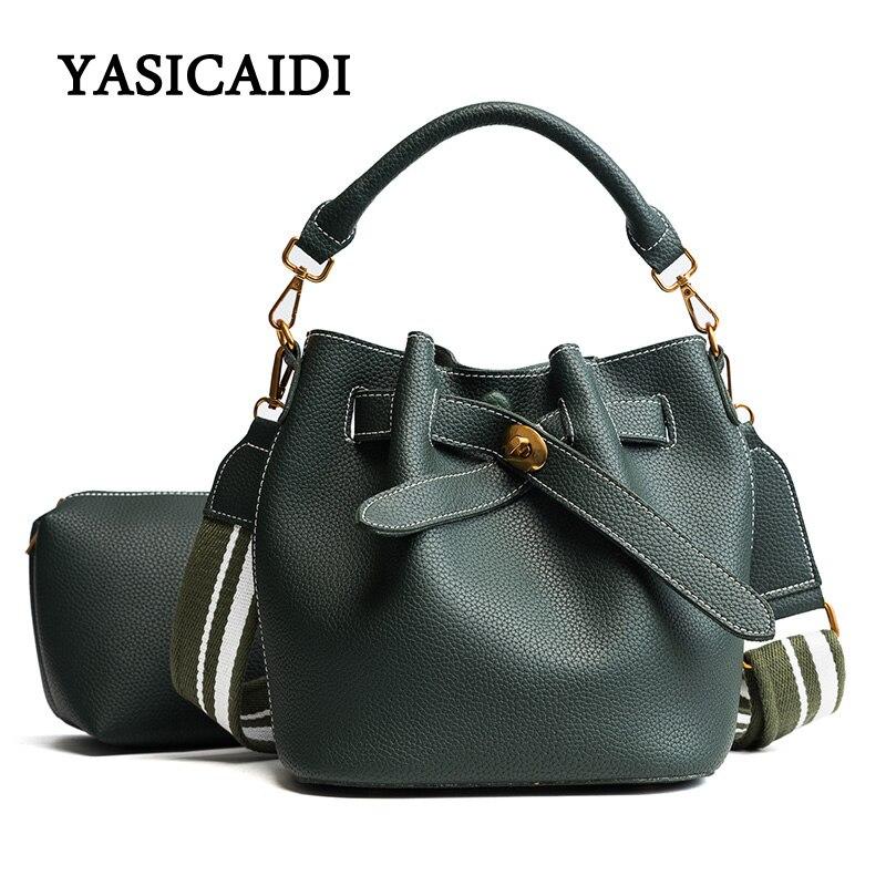 Luxury Handbags Women Bucket Bag Dropshiping WideShoulder Strap Purse and Handbags Pu Leather Drawstring Fashion Shoulder Bag