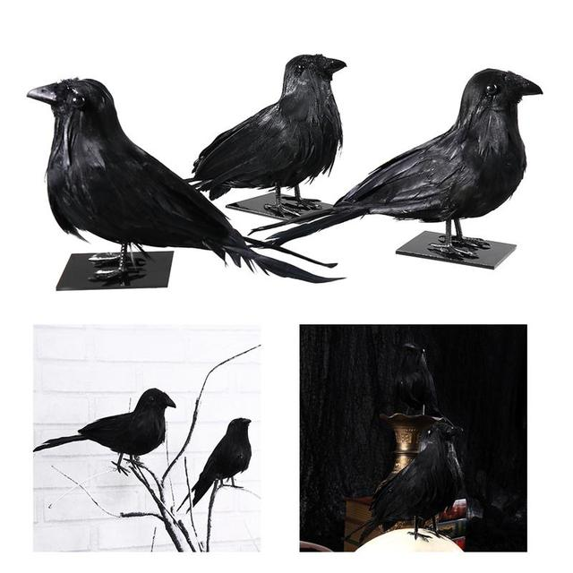 3pcs Simulation Halloween Decor Realistic Feathered Crows Raven Birds with Pedestals Hounted House Scary Props Party Supplies