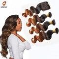 Cabello con cierre brasileño onda Del Cuerpo ombre brasileño pelo de la virgen tejido con cierre de cordones parte libre brasileño mojado y ondulado pelo