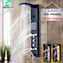 Thermostatic Shower Column Display Rain-Waterfall SHBSHAIMY Wall-Mounted Digital Gold/black