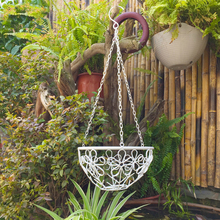 White iron sets two flower basket garden balcony garden flower hanging green flower hanging shelf