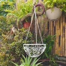 White iron sets two flower basket garden balcony garden flower hanging green flower hanging shelf