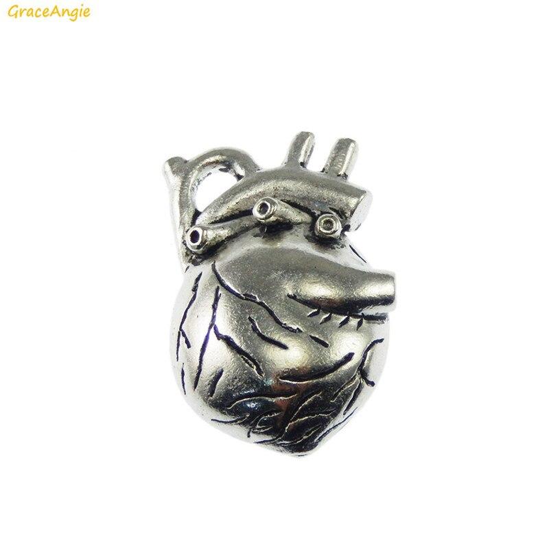 GraceAngie 1PC Antique Silver Colored Zinc Alloy Organ Heart Shape Punk Style Pendant Charms Handmade Stylish Jewelry Earrings