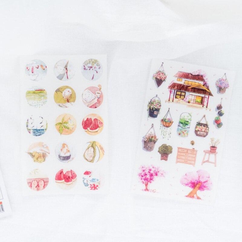 6 pcs box Warm home Washi Stickers Diary Album Label paper Sticker DIY Decoration Stationery Sticker Children Gift in Stationery Stickers from Office School Supplies