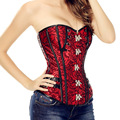 Sexy lingerie steampunk corset Overbust Waist  Corsets Bustier Satin harness Embroidery black espartilho Gothic gothique