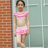 Girls Bikini Set 2016 Cute Kids Dot Swimwear Children Beach Swimsuit Baby Girl Top + Tutu Skirt + Cap Bathing Suits