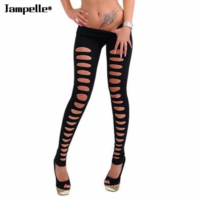 2e279a9d5deb5d Women Fashion Hole Leggings Black Skinny Hollow Ripped Hole Cut Out Pencil Pants  Slim Stretch Sexy