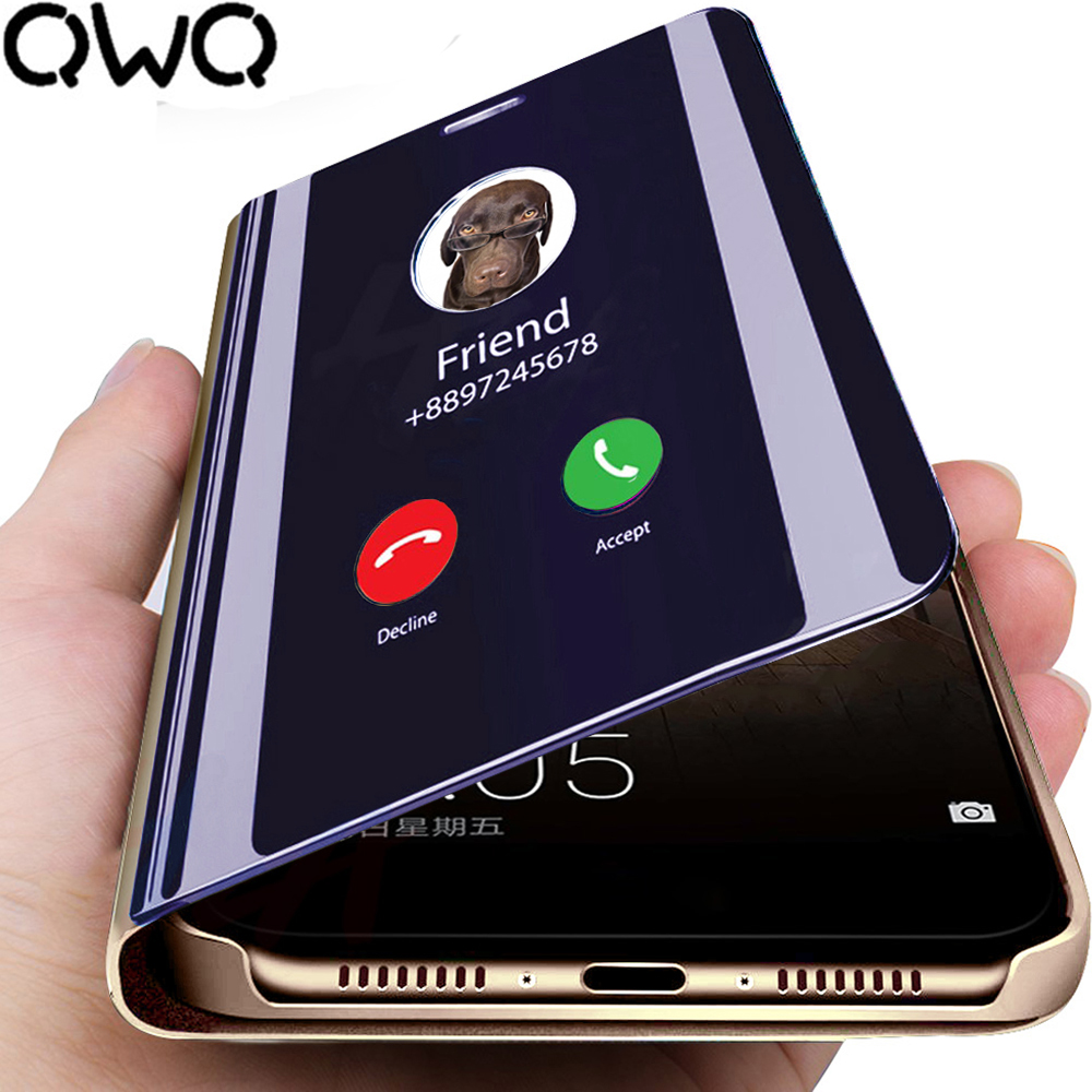 Smart Mirror Phone Case For Samsung Galaxy A50 S10 S9 S8 Plus S10E A8 A7 2018 Note 9 8 A40 A70 A50 A90 A30 Clear View Flip Cover